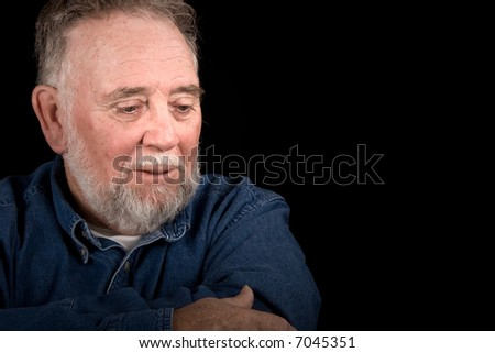elderly veteran crying - stock photo