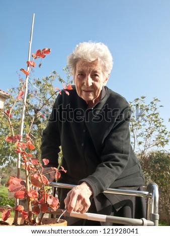 elderly woman enjoy in garden - stock photo