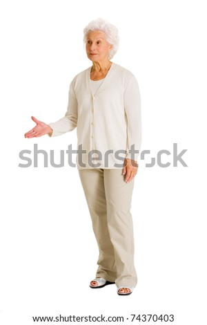elderly woman gesturing - stock photo
