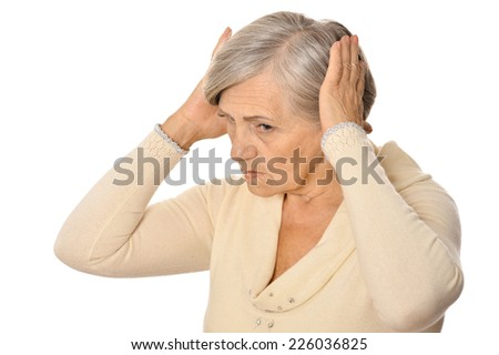 Elderly woman isolated on a white background