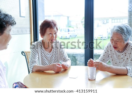 Elderly woman,Lunch time - stock photo