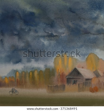Elderly woman on a bicycle in a hurry home before the storm - stock photo
