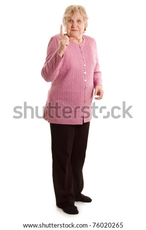 Elderly woman threatens with a finger - stock photo