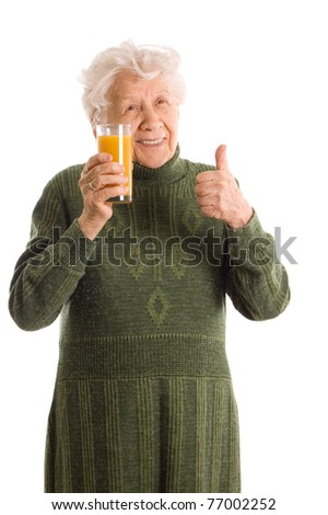 Elderly woman with a juice glass
