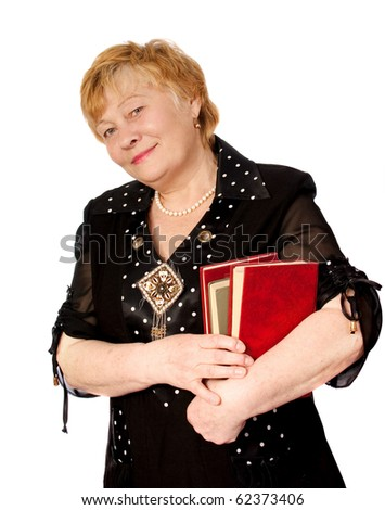 elderly woman with books in hands isolated on white - stock photo