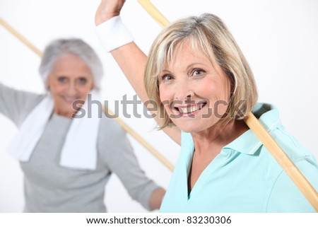 Elderly  women stretching with wooden pole - stock photo