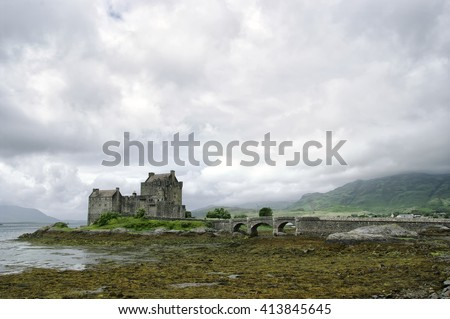 Elean Donan Castle and grounds, Loch Duich near Dornie, Highlands Region, Scotland, UK . Europe The castle is the ancestral seat of the Scottish MacRae Clan.  - stock photo