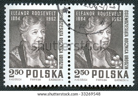 Eleanor Roosevelt on Polish vintage stamp