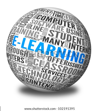Elearning concept in word tag cloud on 3d sphere - stock photo