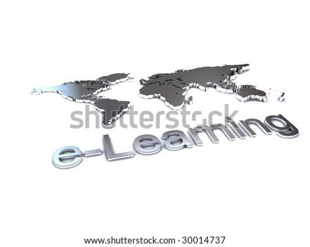 elearning logo for education worldwide - stock photo