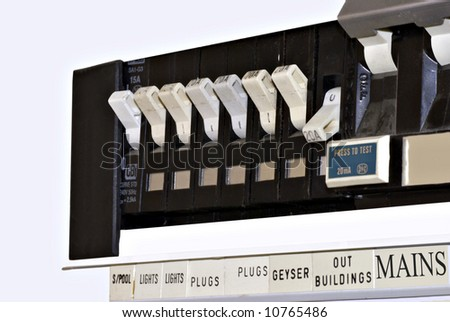 Electical distribution board with circuit breakers - stock photo