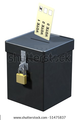 Election ballot box with voting slip - stock photo