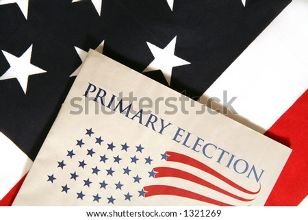 Election booklet on flag - stock photo