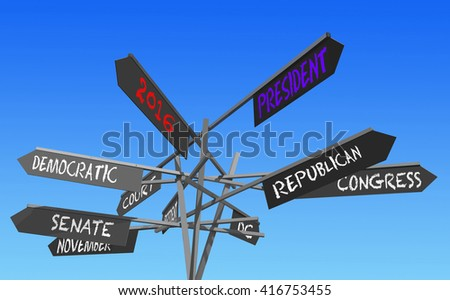 election 2016 choice conceptual post, 3D rendering - stock photo