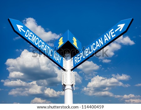 election choice conceptual post with democratic way and republican ave - stock photo