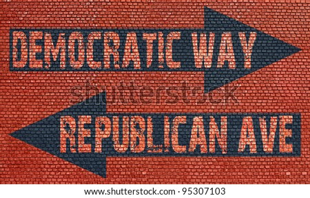 Election choice conceptual post with democratic way and republican ave on brick wall - stock photo
