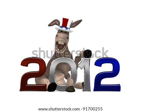 Election Cycle Democrat - 2012 Political Donkey with a goofy look sitting with 2012 3d lettering. Isolated on a white background. - stock photo