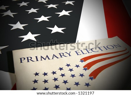 Election pamphlet on flag - stock photo