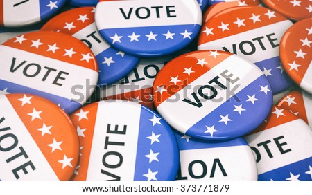 Election: Random Pile Of VOTE Buttons - stock photo