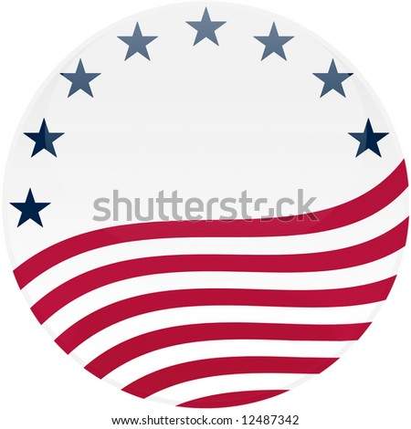 Election themed round button with 3d effect, American flag - clipping path included