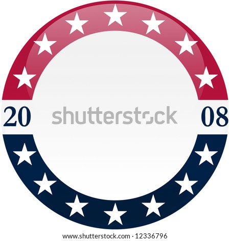 Election themed round button with 3d effect - clipping path included - stock photo