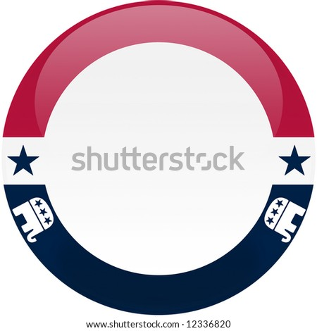 Election themed round button with 3d effect, Republican party logos - clipping path included - stock photo
