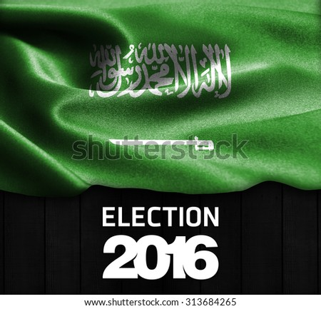 Election 2016 Typography on wood texture background with Saudi Arabia smooth silk texture - stock photo