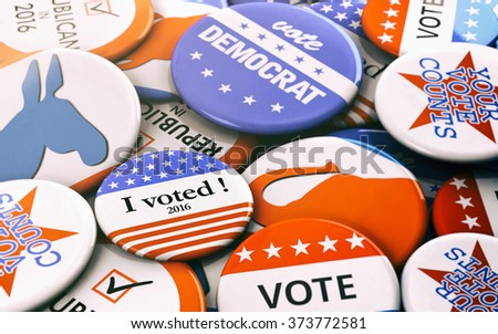 Election: Variety Of Presidential Election Buttons - stock photo
