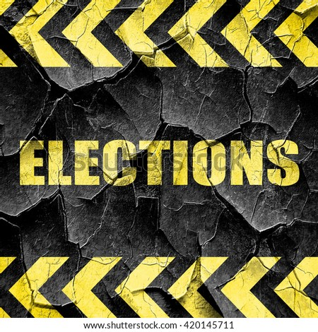 elections, black and yellow rough hazard stripes - stock photo