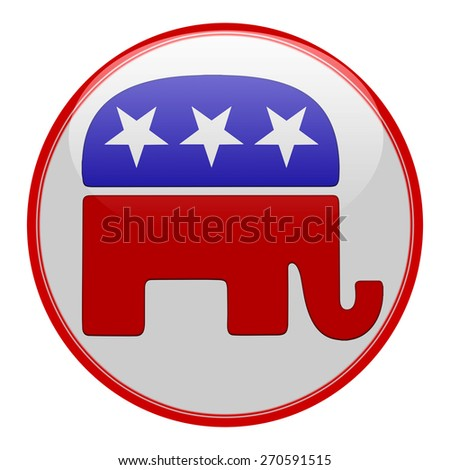 Elections button shape with Republican party icon  - stock photo