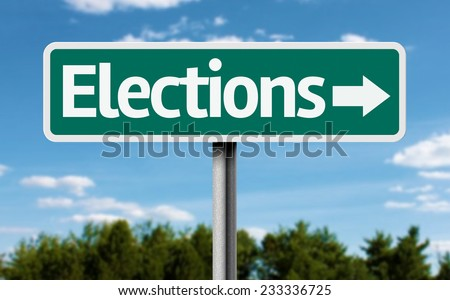 Elections creative green sign - stock photo