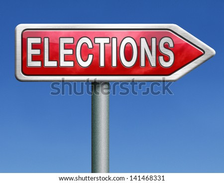 elections free election for new democracy local national voting poll red road sign arrow - stock photo
