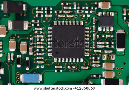Electonics board with components. Close-up