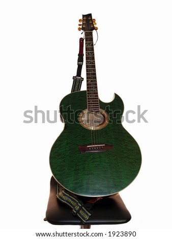 Electric Acoustic  Guitar  bass sting missing - stock photo