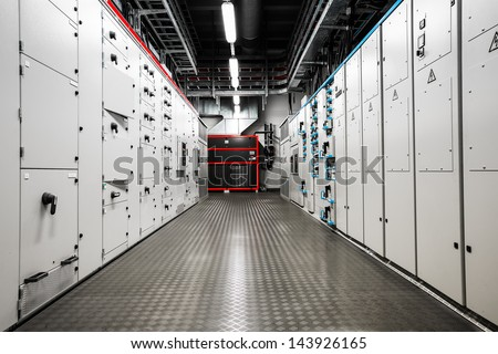 Electric  amperage  control room - stock photo
