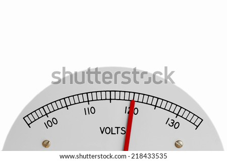 Electric analog voltage meter register indicating 120 alternating current volts  - stock photo