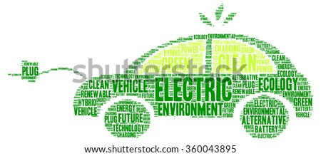 Electric and clean vehicle word cloud concept