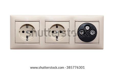 Electric and TV sockets on a white background. Wall outlet. - stock photo