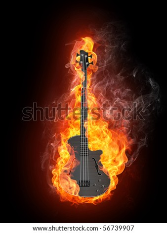 Electric Bass Guitar in fire Isolated on Black Background. Computer Graphics. - stock photo