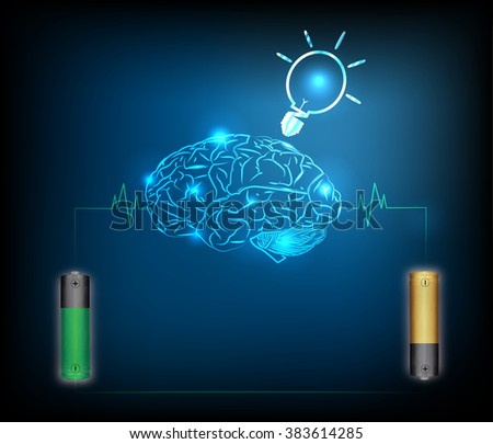 Electric battery energy  charge brain, dark blue light abstract technology background - stock photo