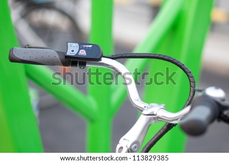 electric bike steering - stock photo