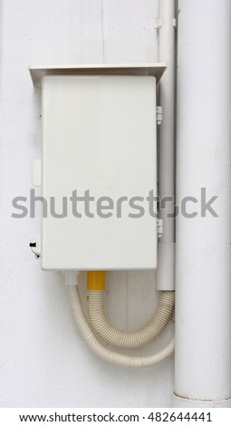 electric box power control panel on concrete wall