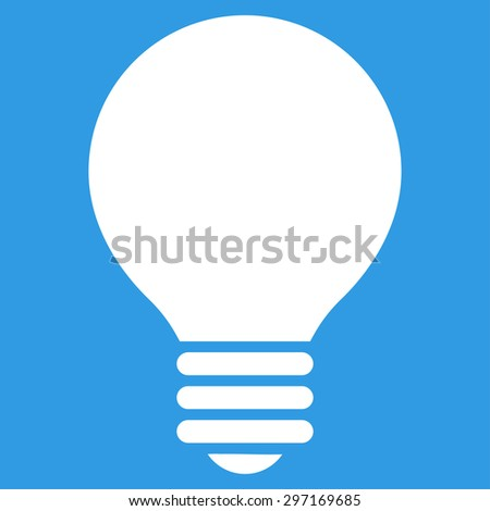 Electric Bulb icon from Primitive Set. This isolated flat symbol is drawn with white color on a blue background, angles are rounded. - stock photo