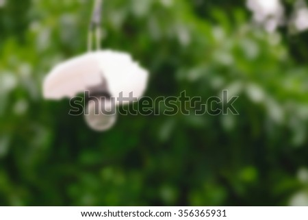 Electric bulb lamp hanging in the garden, defocus on green tree background with bokeh