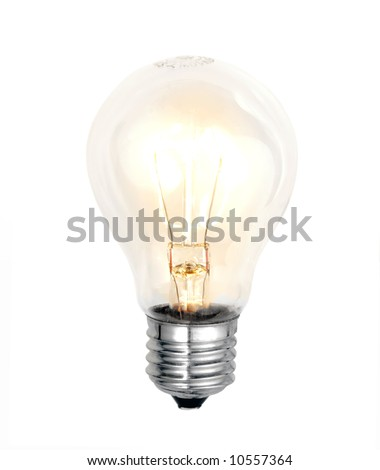 electric bulb lightened isolated on white background - stock photo