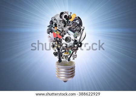 Electric bulb with auto parts for car. Auto parts for car. Auto parts for shop, aftermarket OEM. Bulb with auto parts. New auto parts for shop. Many auto spare parts for car. Isolated auto parts. - stock photo