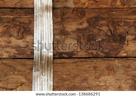 electric cable wire on wood wall - stock photo