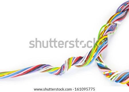 Electric cable with knot isolated on white background