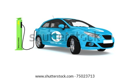electric car and recharge kiosk - stock photo