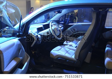 electric car interior exhibition eco drive stock photo royalty free 751533871 shutterstock. Black Bedroom Furniture Sets. Home Design Ideas